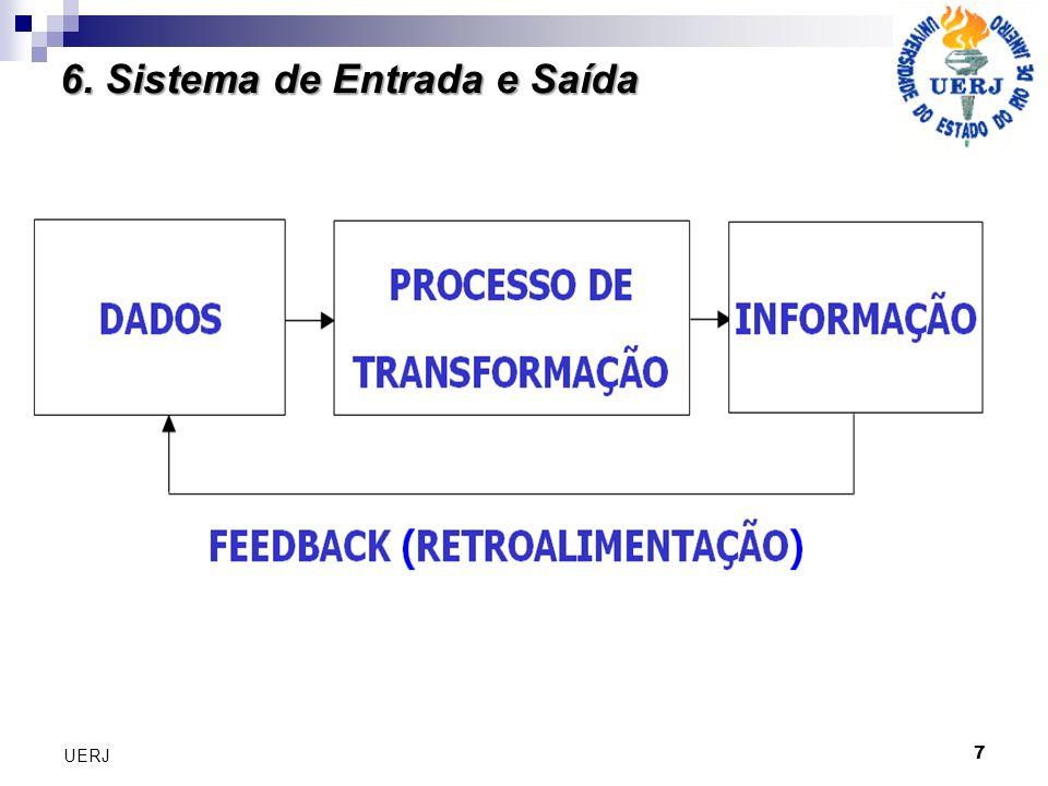 8 UERJ Entrada: atividade de captar, registrar e juntar os dados iniciais do sistema (manual ou automáticos.) Processamento: conversão ou transformação dos dados em saídas úteis.