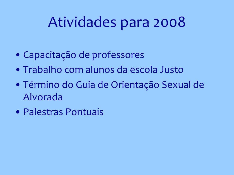 Atividades para 2008 Capacitação de professores Trabalho com alunos da escola Justo Término do Guia de Orientação Sexual de Alvorada Palestras Pontuai