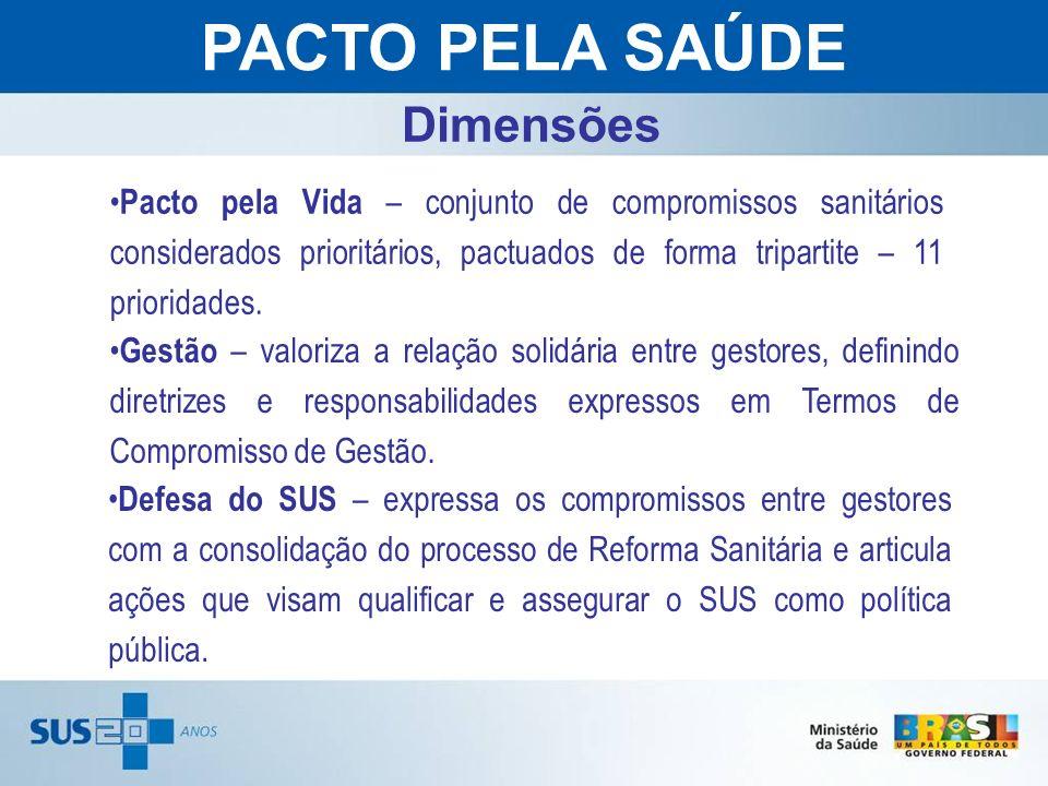 Gestão – valoriza a relação solidária entre gestores, definindo diretrizes e responsabilidades expressos em Termos de Compromisso de Gestão. PACTO PEL