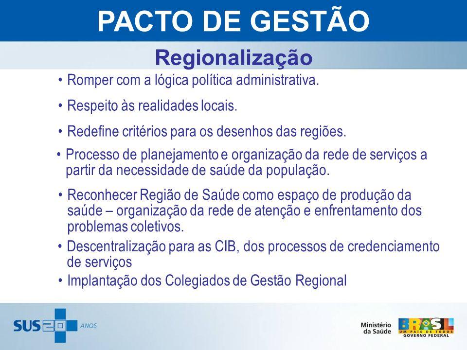 Regionalização Romper com a lógica política administrativa. Reconhecer Região de Saúde como espaço de produção da saúde – organização da rede de atenç