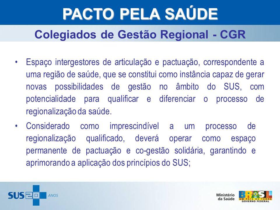 www.saude.gov.br/dad Colegiados de Gestão Regional - CGR PACTO PELA SAÚDE Espaço intergestores de articulação e pactuação, correspondente a uma região