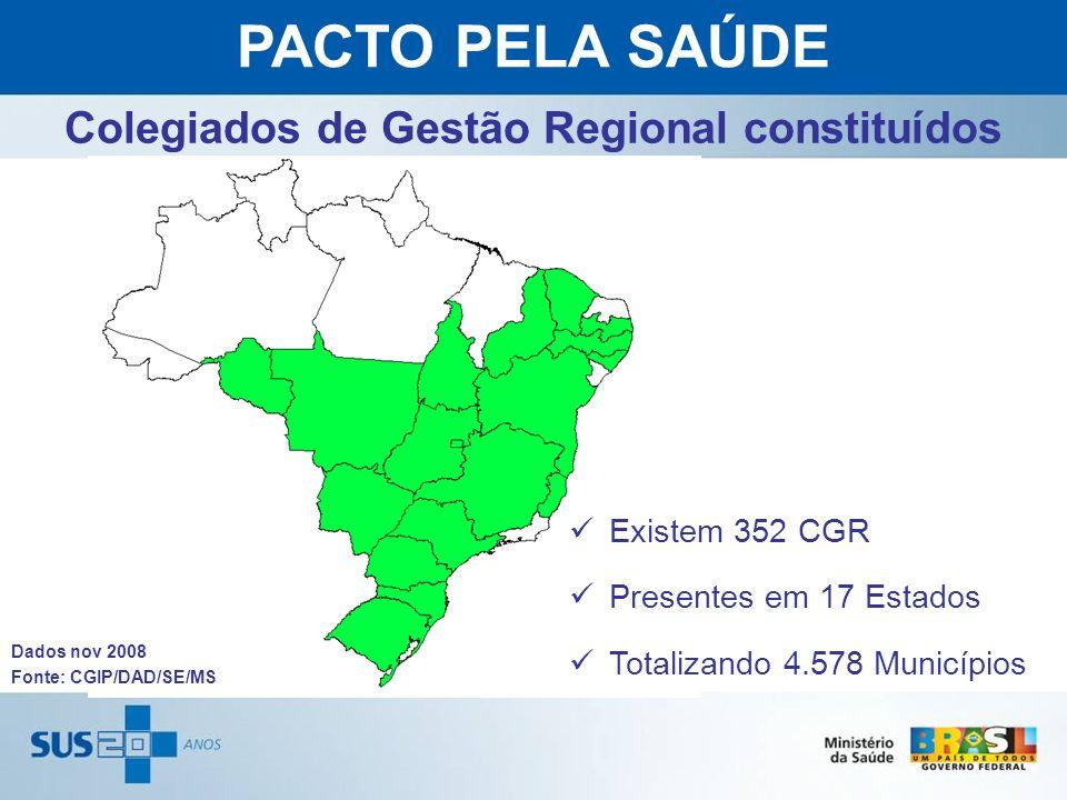 Fonte: CGIP/DAD/SE/MS Existem 352 CGR Presentes em 17 Estados Totalizando 4.578 Municípios Colegiados de Gestão Regional constituídos Dados nov 2008 P