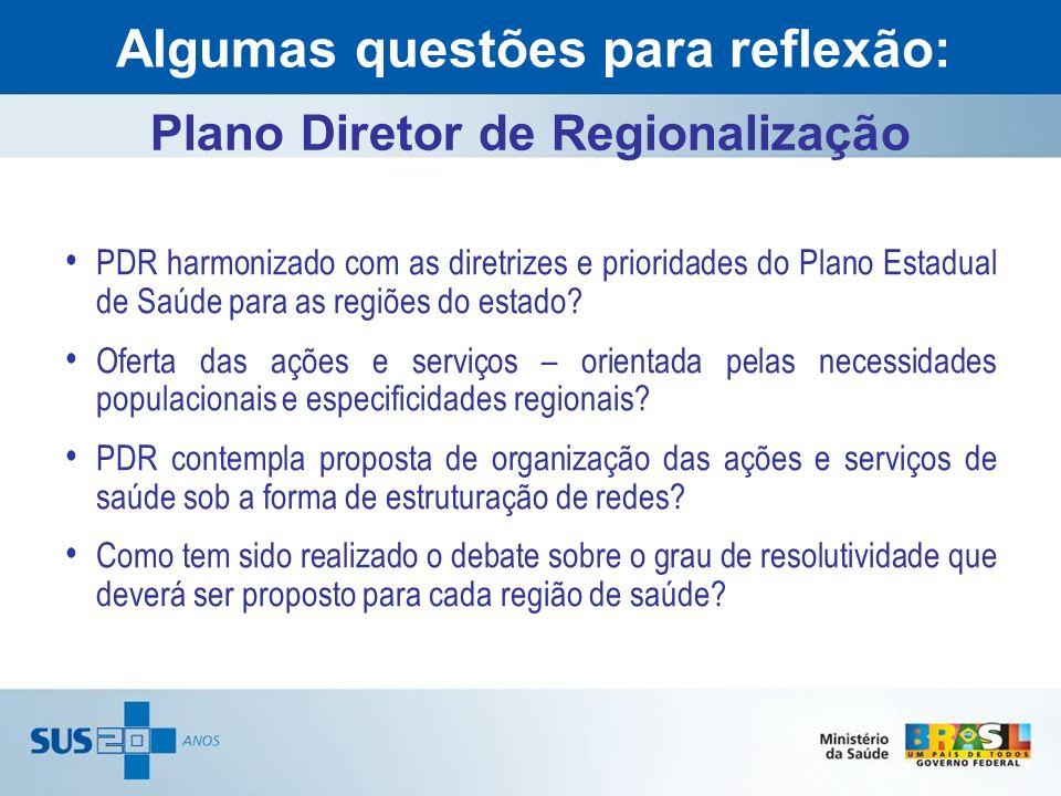 PDR harmonizado com as diretrizes e prioridades do Plano Estadual de Saúde para as regiões do estado? Oferta das ações e serviços – orientada pelas ne