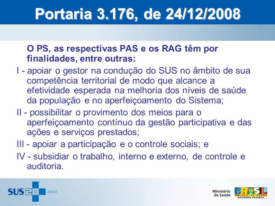 O PS, as respectivas PAS e os RAG têm por finalidades, entre outras: I - apoiar o gestor na condução do SUS no âmbito de sua competência territorial d