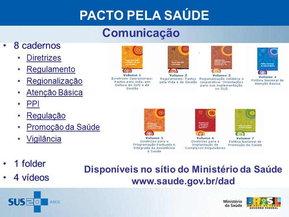 8 cadernos Diretrizes Regulamento Regionalização Atenção Básica PPI Regulação Promoção da Saúde Vigilância 1 folder 4 vídeos PACTO PELA SAÚDE www.saud