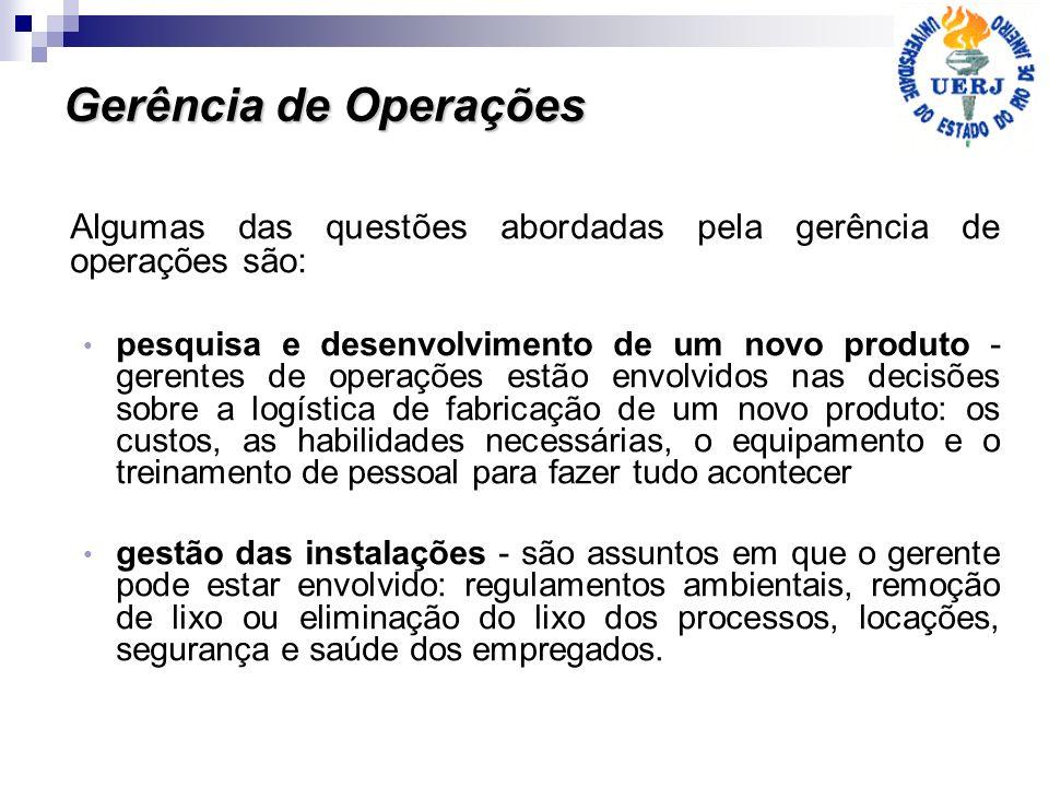 Gerência de Operações Algumas das questões abordadas pela gerência de operações são: pesquisa e desenvolvimento de um novo produto - gerentes de opera