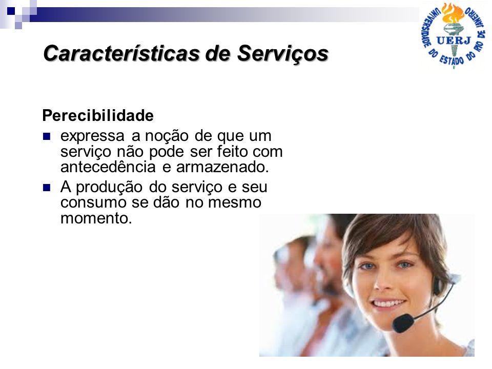 Características de Serviços Perecibilidade expressa a noção de que um serviço não pode ser feito com antecedência e armazenado. A produção do serviço