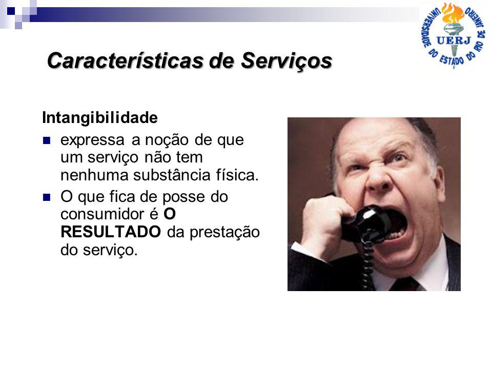 Características de Serviços Intangibilidade expressa a noção de que um serviço não tem nenhuma substância física. O que fica de posse do consumidor é