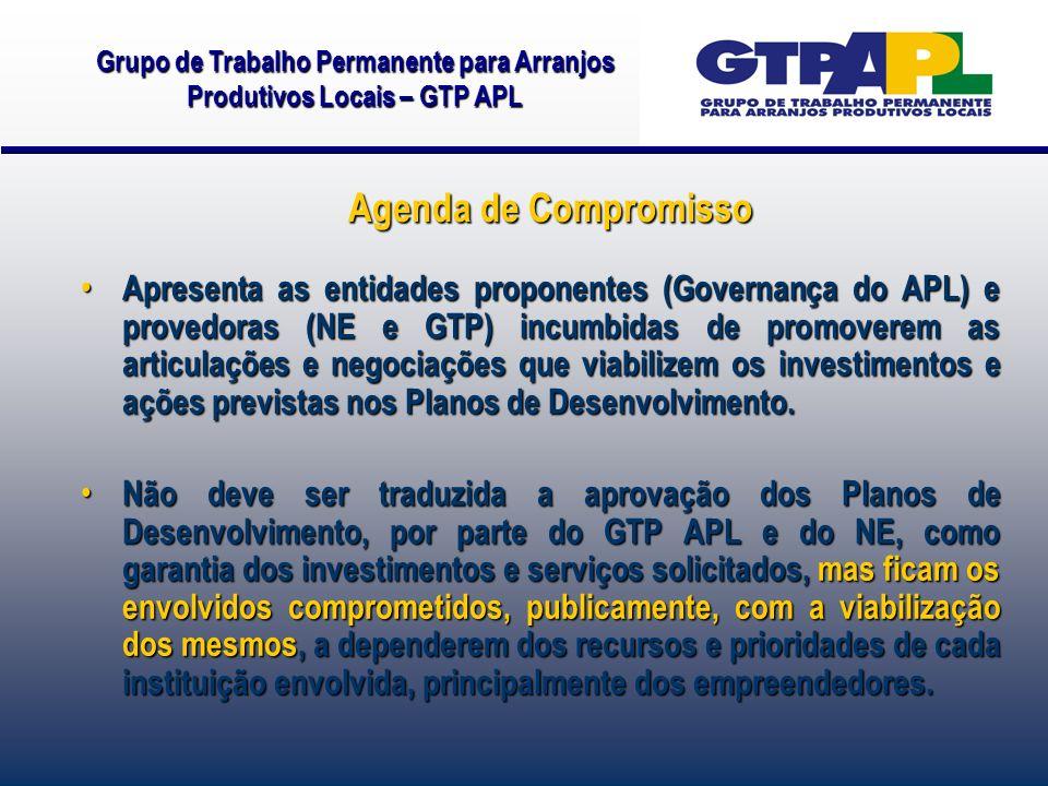 Apresenta as entidades proponentes (Governança do APL) e provedoras (NE e GTP) incumbidas de promoverem as articulações e negociações que viabilizem os investimentos e ações previstas nos Planos de Desenvolvimento.