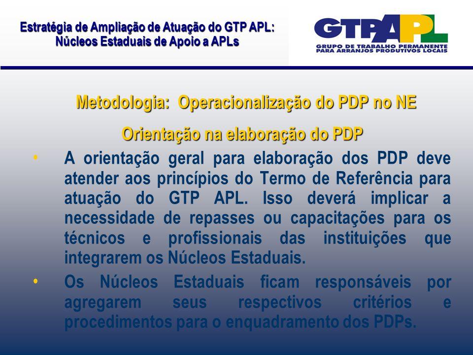 Orientação na elaboração do PDP A orientação geral para elaboração dos PDP deve atender aos princípios do Termo de Referência para atuação do GTP APL.