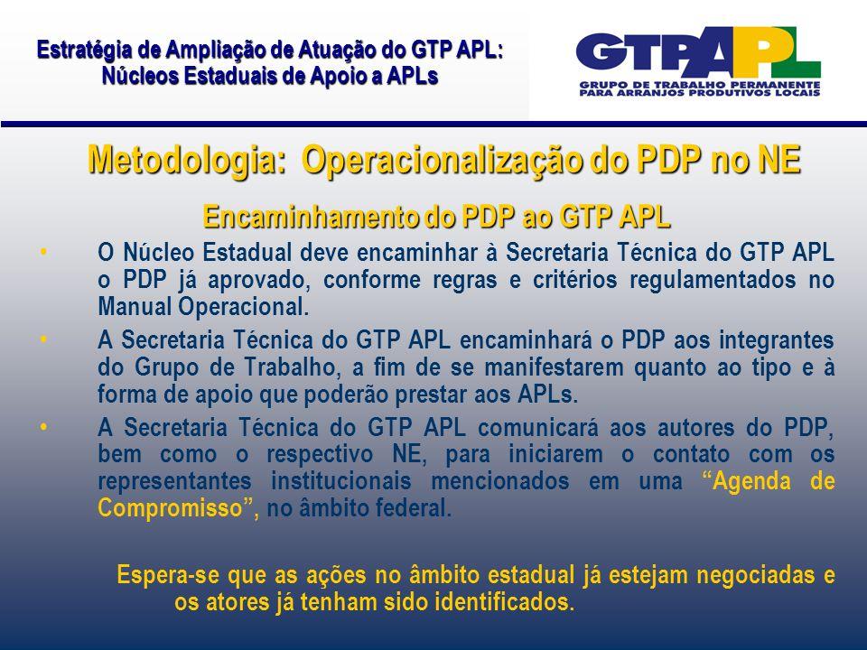 Encaminhamento do PDP ao GTP APL O Núcleo Estadual deve encaminhar à Secretaria Técnica do GTP APL o PDP já aprovado, conforme regras e critérios regulamentados no Manual Operacional.