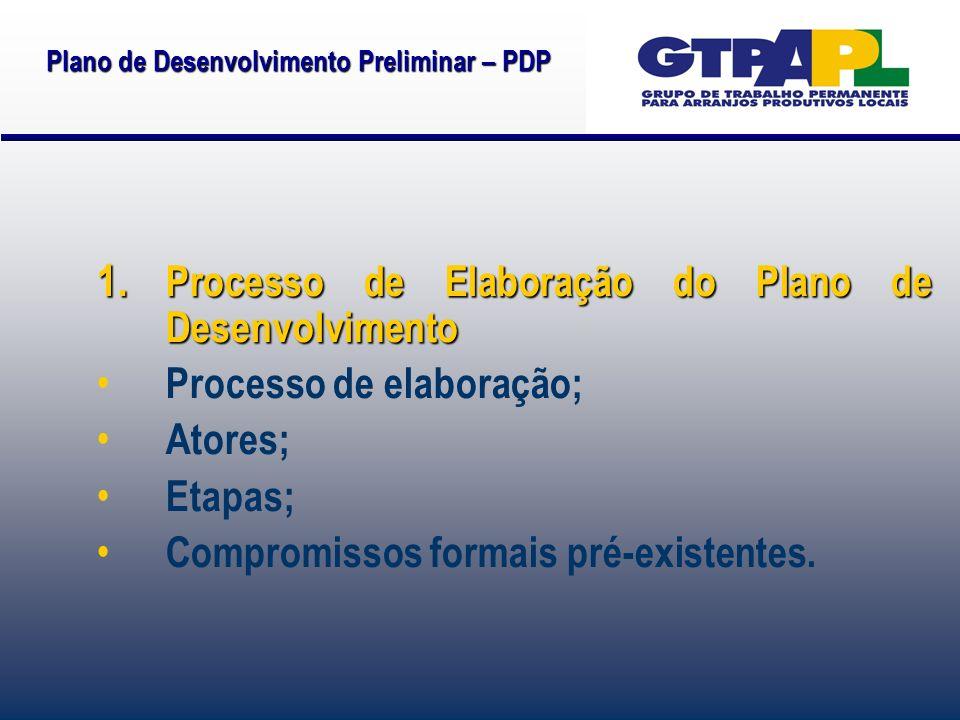 1. Processo de Elaboração do Plano de Desenvolvimento Processo de elaboração; Atores; Etapas; Compromissos formais pré-existentes.