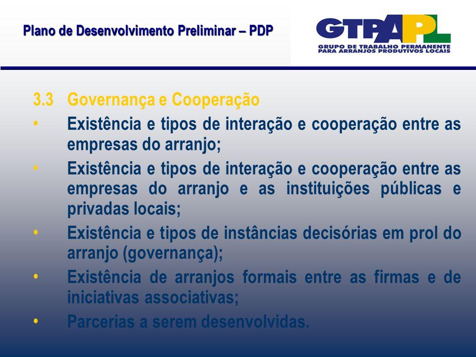 Plano de Desenvolvimento Preliminar – PDP 3.3 Governança e Cooperação Existência e tipos de interação e cooperação entre as empresas do arranjo; Exist