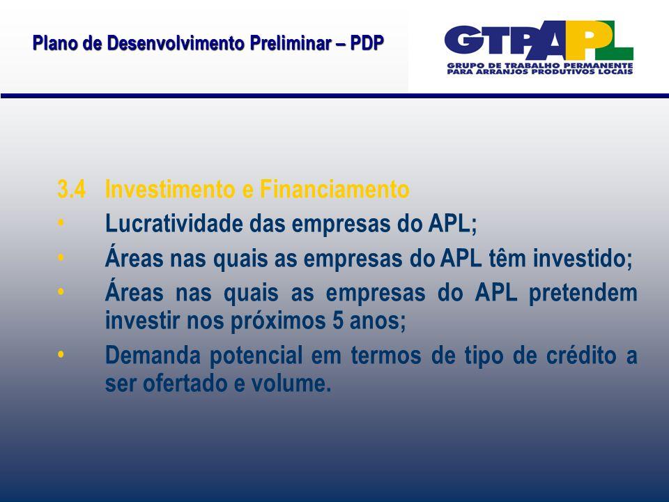 Plano de Desenvolvimento Preliminar – PDP 3.4 Investimento e Financiamento Lucratividade das empresas do APL; Áreas nas quais as empresas do APL têm investido; Áreas nas quais as empresas do APL pretendem investir nos próximos 5 anos; Demanda potencial em termos de tipo de crédito a ser ofertado e volume.