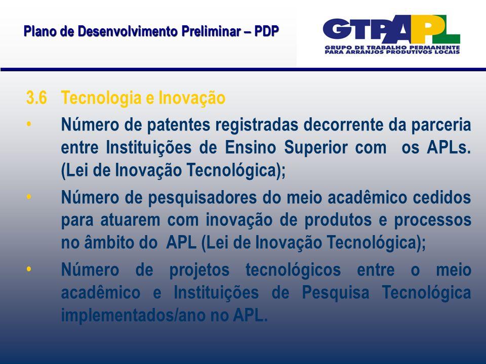 Plano de Desenvolvimento Preliminar – PDP 3.6 Tecnologia e Inovação Número de patentes registradas decorrente da parceria entre Instituições de Ensino Superior com os APLs.