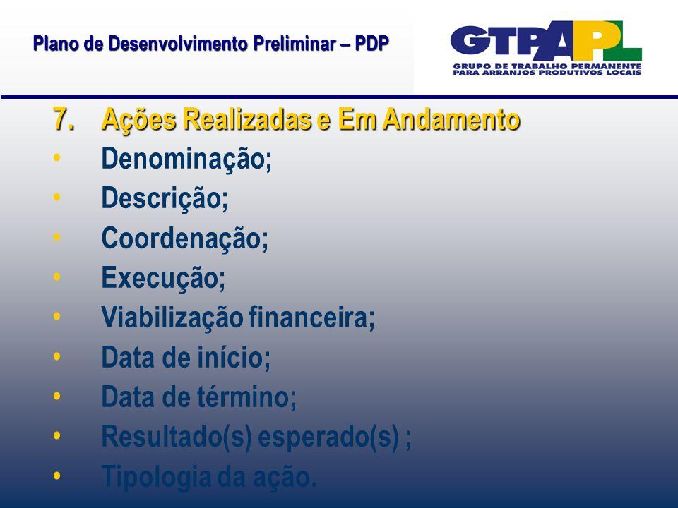 Plano de Desenvolvimento Preliminar – PDP 7. Ações Realizadas e Em Andamento Denominação; Descrição; Coordenação; Execução; Viabilização financeira; D