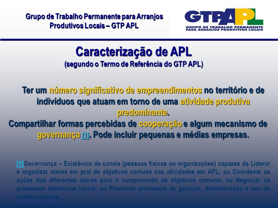 Caracterização de APL (segundo o Termo de Referência do GTP APL) Ter um número significativo de empreendimentos no território e de indivíduos que atuam em torno de uma atividade produtiva predominante.
