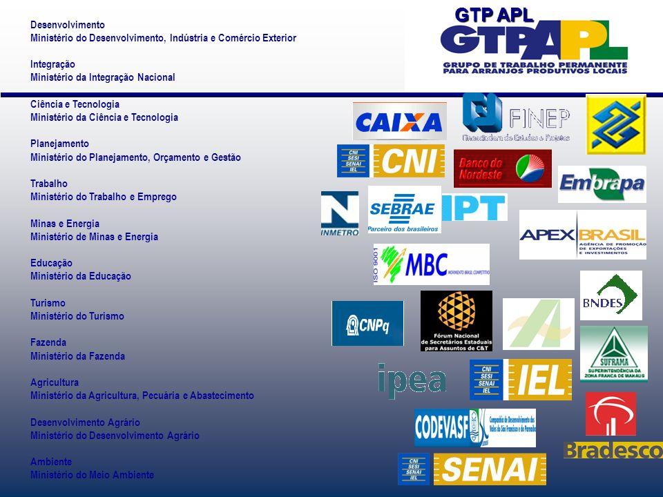 Desenvolvimento Ministério do Desenvolvimento, Indústria e Comércio Exterior Integração Ministério da Integração Nacional Ciência e Tecnologia Ministé