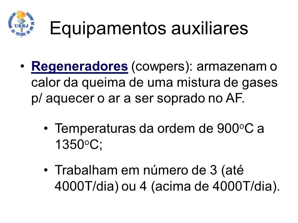 Equipamentos auxiliares Regeneradores (cowpers): armazenam o calor da queima de uma mistura de gases p/ aquecer o ar a ser soprado no AF.Regeneradores