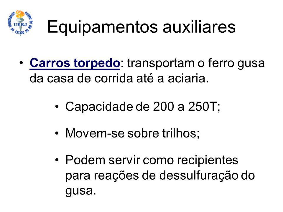 Equipamentos auxiliares Carros torpedo: transportam o ferro gusa da casa de corrida até a aciaria.Carros torpedo Capacidade de 200 a 250T; Movem-se so