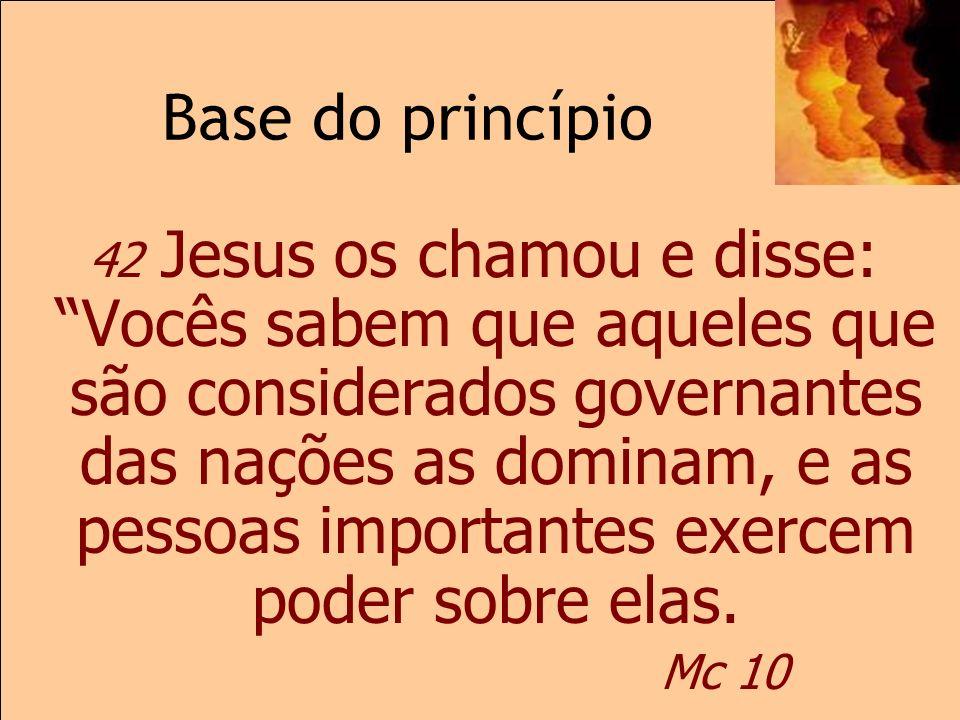 Base do princípioMc 10 42 Jesus os chamou e disse: Vocês sabem que aqueles que são considerados governantes das nações as dominam, e as pessoas import