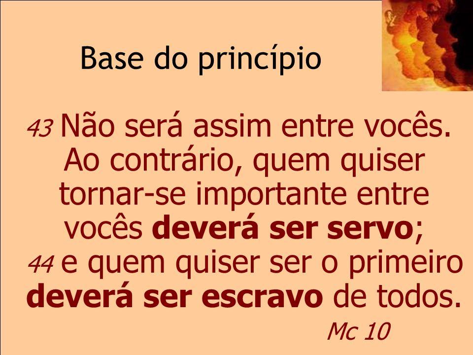 Base do princípioMc 10 43 Não será assim entre vocês. Ao contrário, quem quiser tornar-se importante entre vocês deverá ser servo; 44 e quem quiser se
