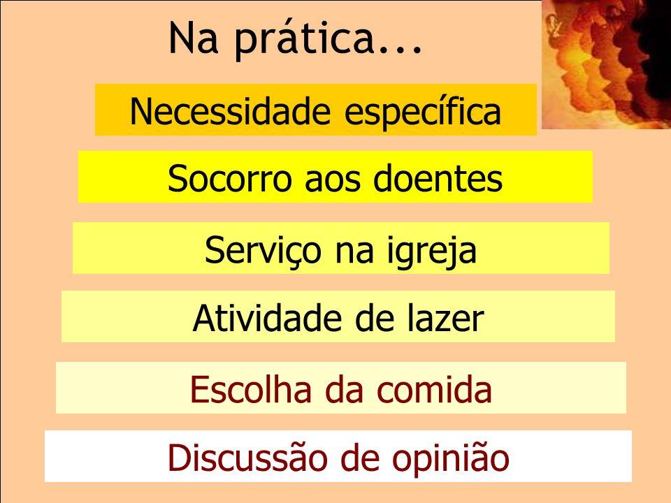 Na prática... Discussão de opinião Escolha da comida Atividade de lazer Serviço na igreja Socorro aos doentes Necessidade específica