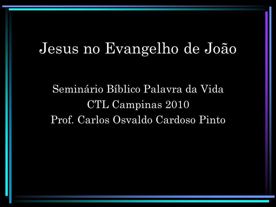Jesus no Evangelho de João Seminário Bíblico Palavra da Vida CTL Campinas 2010 Prof. Carlos Osvaldo Cardoso Pinto