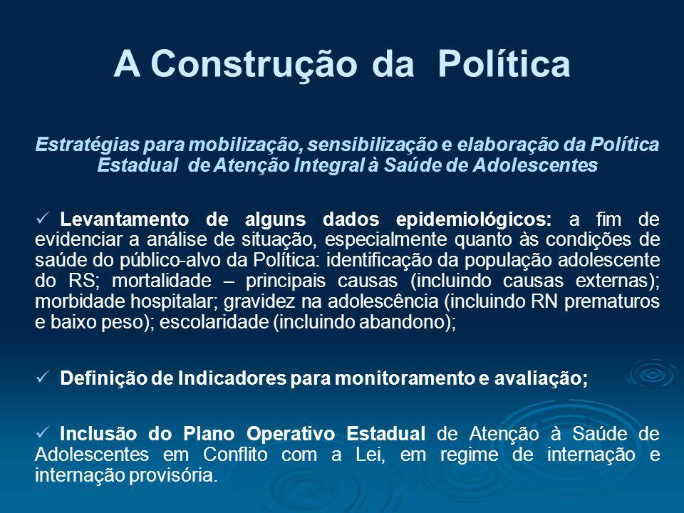 A Construção da Política Estratégias para mobilização, sensibilização e elaboração da Política Estadual de Atenção Integral à Saúde de Adolescentes Le