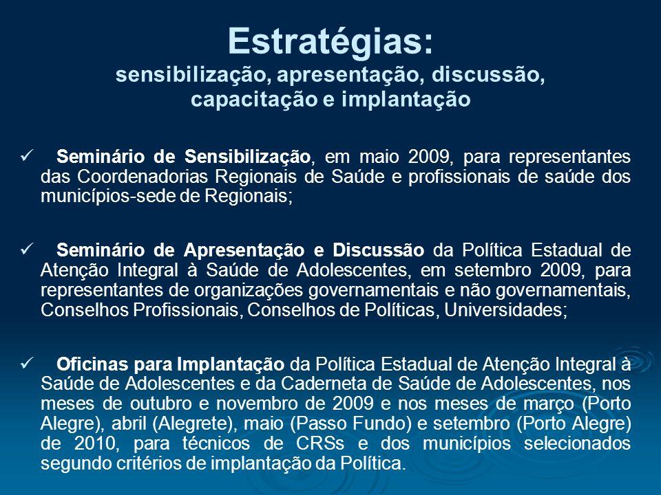 Estratégias: sensibilização, apresentação, discussão, capacitação e implantação Seminário de Sensibilização, em maio 2009, para representantes das Coo