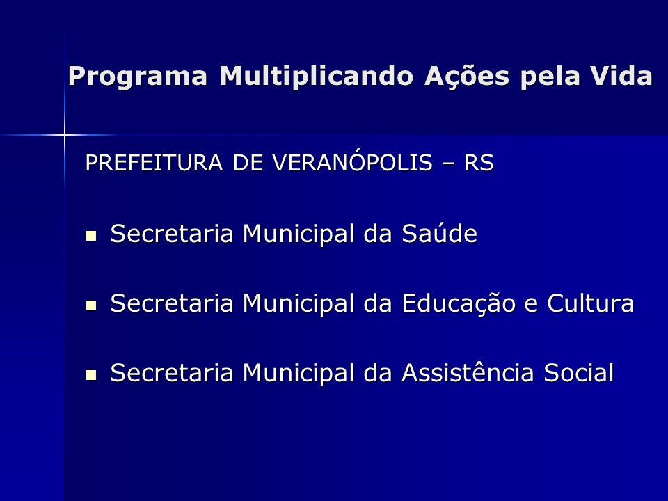 Programa Multiplicando Ações pela Vida PREFEITURA DE VERANÓPOLIS – RS Secretaria Municipal da Saúde Secretaria Municipal da Saúde Secretaria Municipal