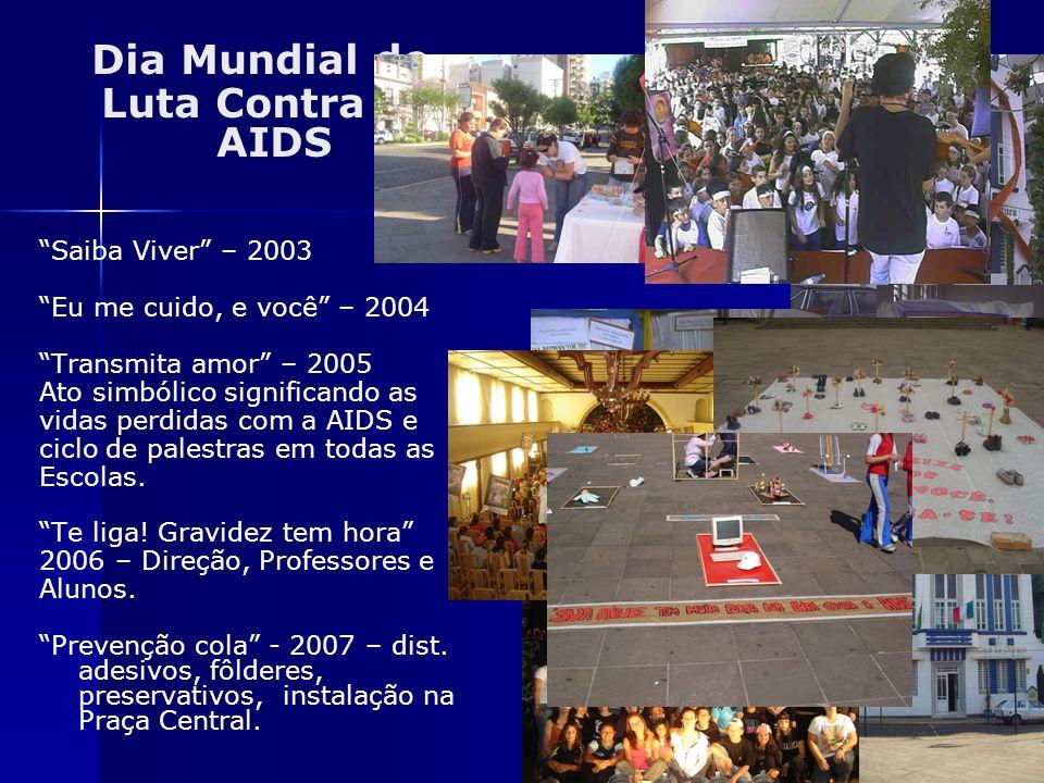 Dia Mundial de Luta Contra a AIDS Saiba Viver – 2003 Eu me cuido, e você – 2004 Transmita amor – 2005 Ato simbólico significando as vidas perdidas com