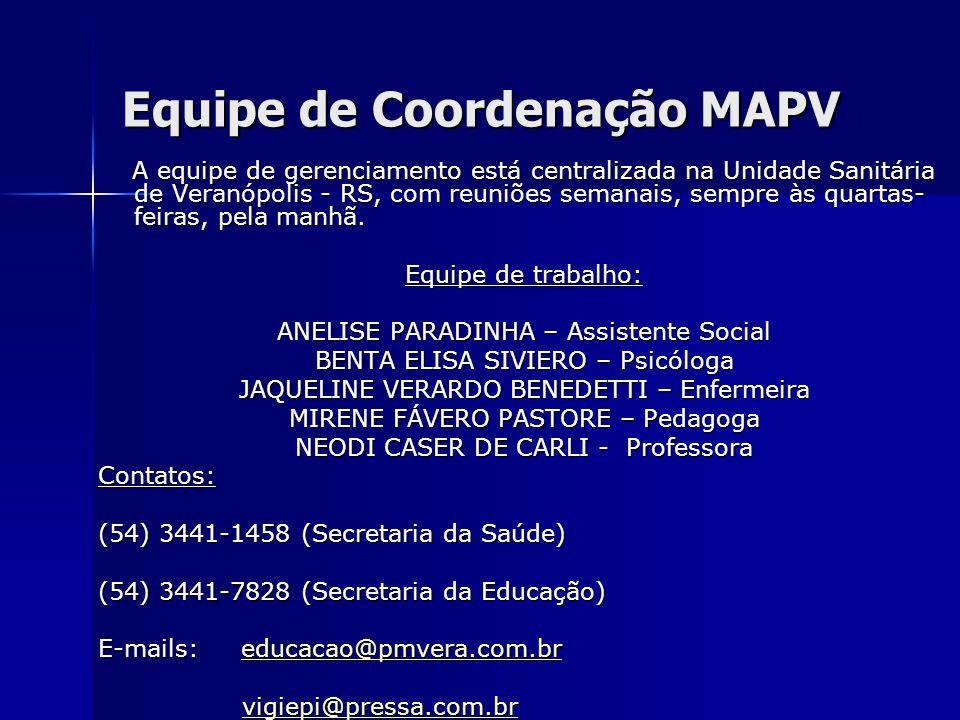 Equipe de Coordenação MAPV A equipe de gerenciamento está centralizada na Unidade Sanitária de Veranópolis - RS, com reuniões semanais, sempre às quar