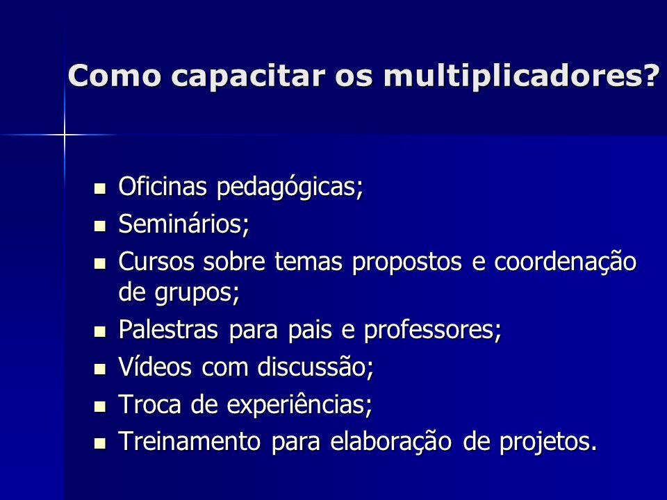 Como capacitar os multiplicadores? Oficinas pedagógicas; Oficinas pedagógicas; Seminários; Seminários; Cursos sobre temas propostos e coordenação de g