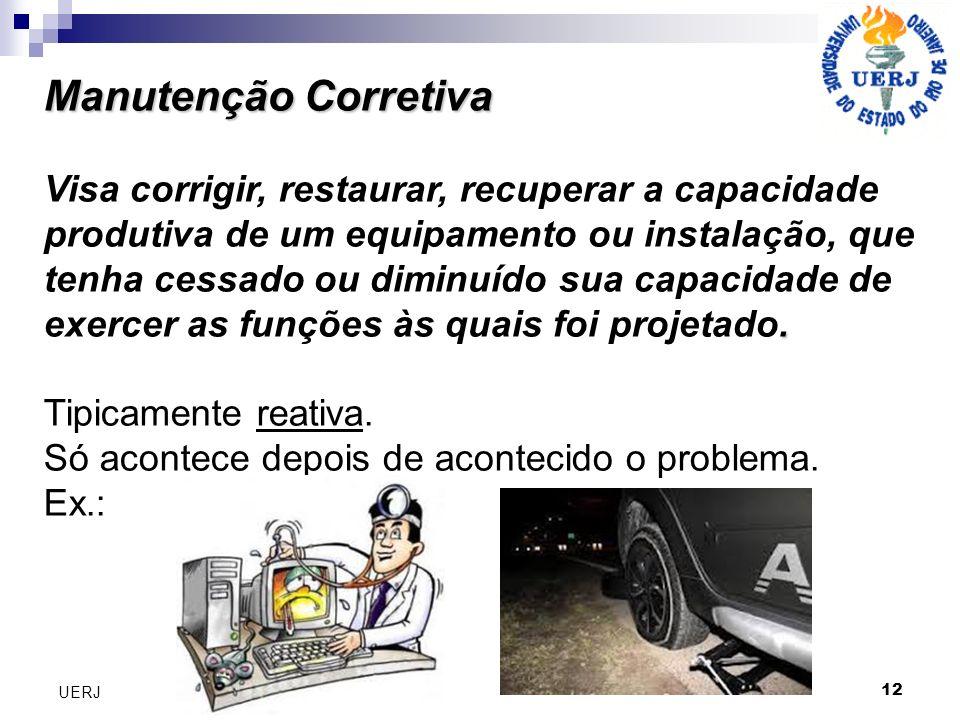Manutenção Corretiva Manutenção Corretiva. Visa corrigir, restaurar, recuperar a capacidade produtiva de um equipamento ou instalação, que tenha cessa