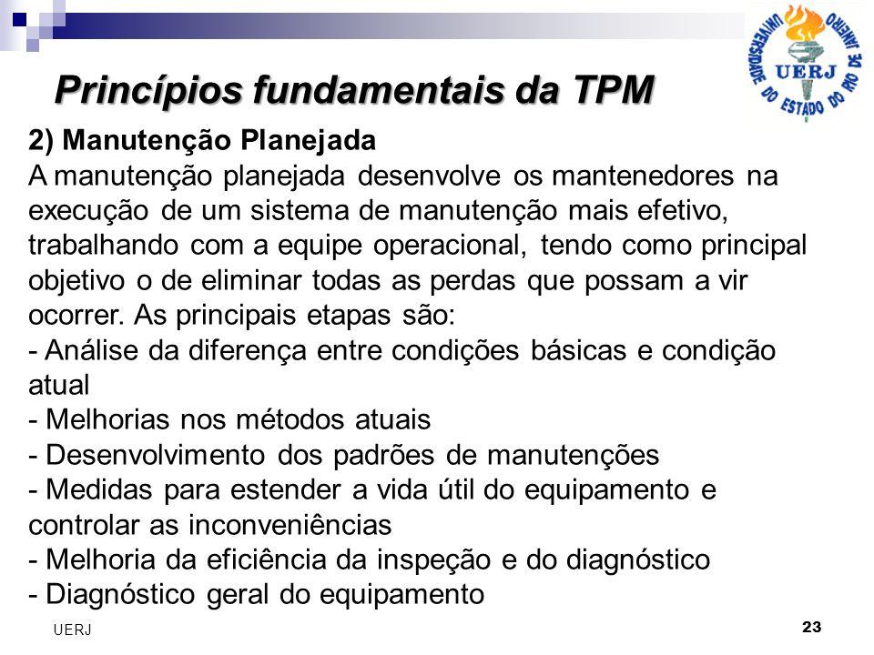 Princípios fundamentais da TPM 23 UERJ 2) Manutenção Planejada A manutenção planejada desenvolve os mantenedores na execução de um sistema de manutenç