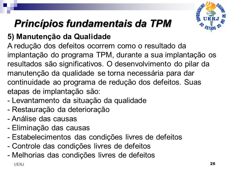 Princípios fundamentais da TPM 26 UERJ 5) Manutenção da Qualidade A redução dos defeitos ocorrem como o resultado da implantação do programa TPM, dura