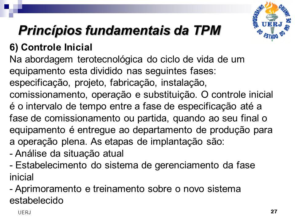 Princípios fundamentais da TPM 27 UERJ 6) Controle Inicial Na abordagem terotecnológica do ciclo de vida de um equipamento esta dividido nas seguintes