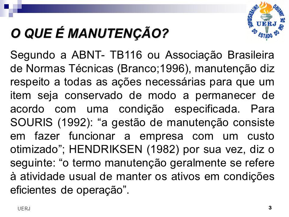 O QUE É MANUTENÇÃO? Segundo a ABNT- TB116 ou Associação Brasileira de Normas Técnicas (Branco;1996), manutenção diz respeito a todas as ações necessár