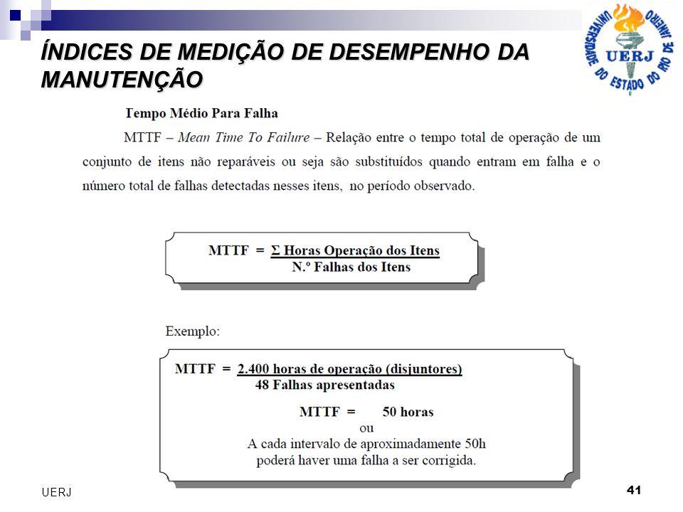 41 UERJ ÍNDICES DE MEDIÇÃO DE DESEMPENHO DA MANUTENÇÃO