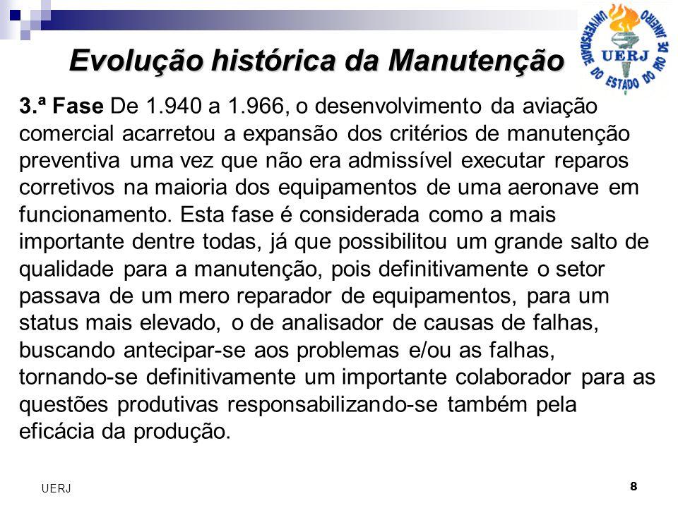 8 UERJ Evolução histórica da Manutenção 3.ª Fase De 1.940 a 1.966, o desenvolvimento da aviação comercial acarretou a expansão dos critérios de manute