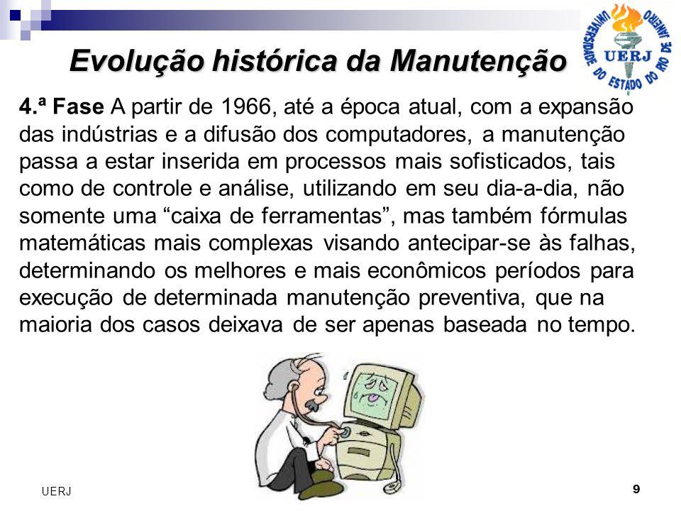9 UERJ Evolução histórica da Manutenção 4.ª Fase A partir de 1966, até a época atual, com a expansão das indústrias e a difusão dos computadores, a ma