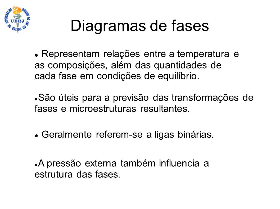 Diagramas de fases Representam relações entre a temperatura e as composições, além das quantidades de cada fase em condições de equilíbrio. Geralmente