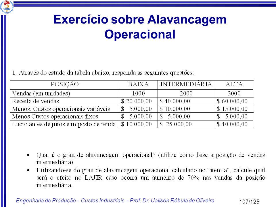 107/125 Engenharia de Produção – Custos Industriais – Prof. Dr. Ualison Rébula de Oliveira Exercício sobre Alavancagem Operacional