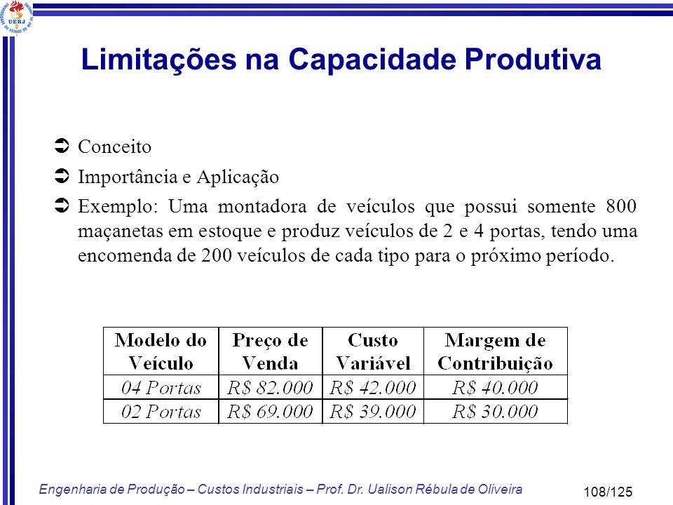 108/125 Engenharia de Produção – Custos Industriais – Prof. Dr. Ualison Rébula de Oliveira Limitações na Capacidade Produtiva Conceito Importância e A