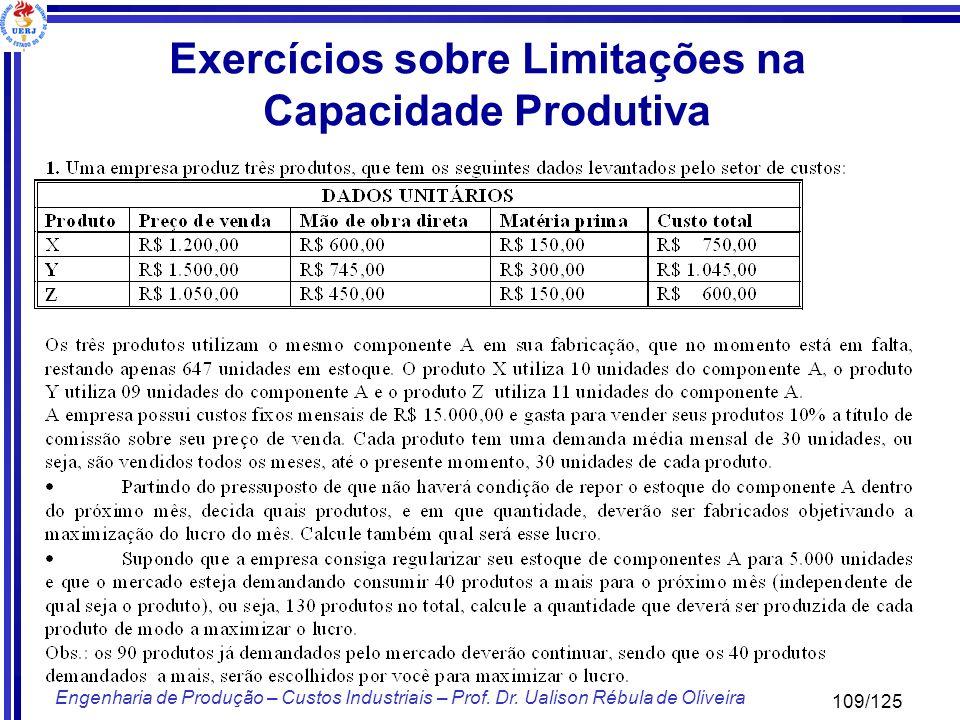 109/125 Engenharia de Produção – Custos Industriais – Prof. Dr. Ualison Rébula de Oliveira Exercícios sobre Limitações na Capacidade Produtiva