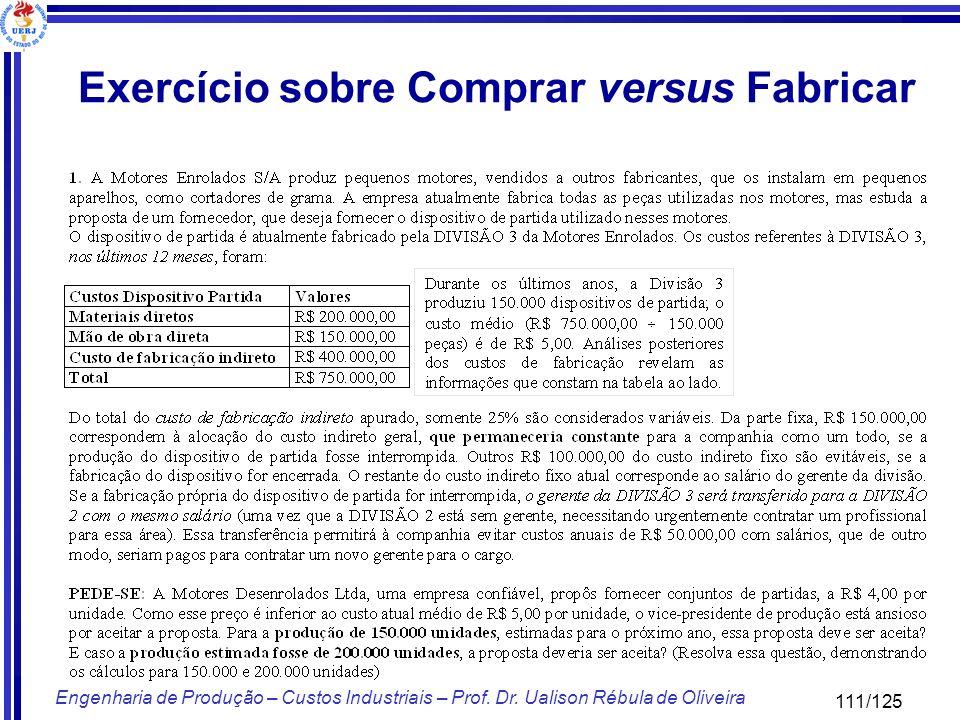 111/125 Engenharia de Produção – Custos Industriais – Prof. Dr. Ualison Rébula de Oliveira Exercício sobre Comprar versus Fabricar