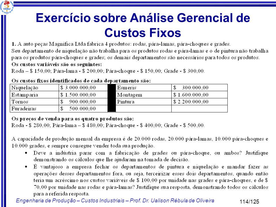 114/125 Engenharia de Produção – Custos Industriais – Prof. Dr. Ualison Rébula de Oliveira Exercício sobre Análise Gerencial de Custos Fixos