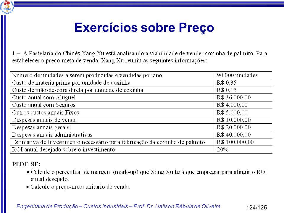 124/125 Engenharia de Produção – Custos Industriais – Prof. Dr. Ualison Rébula de Oliveira Exercícios sobre Preço
