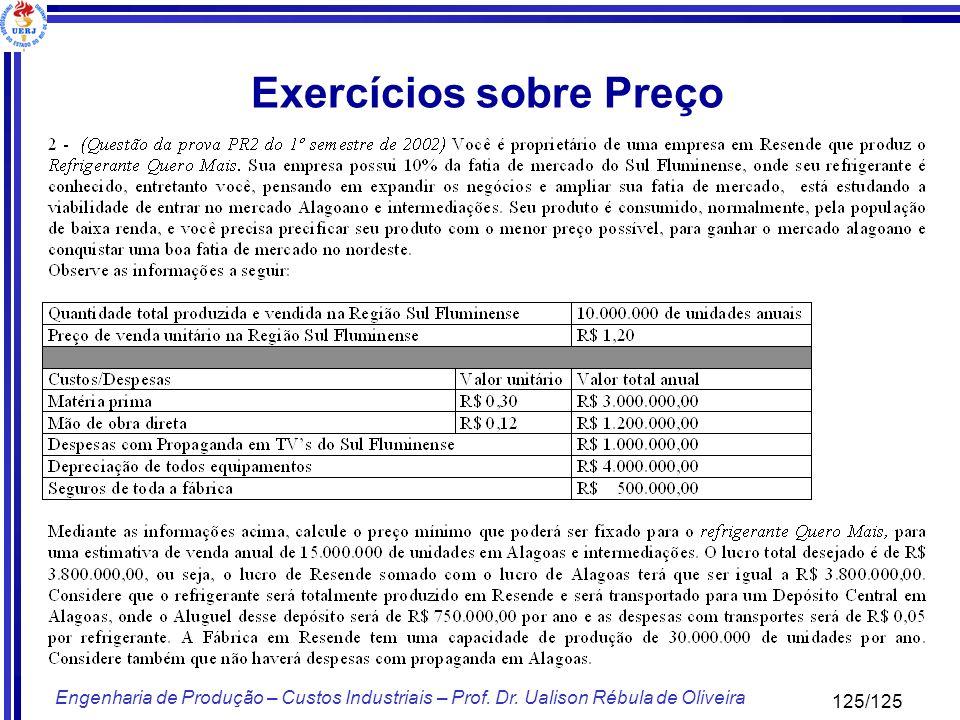 125/125 Engenharia de Produção – Custos Industriais – Prof. Dr. Ualison Rébula de Oliveira Exercícios sobre Preço